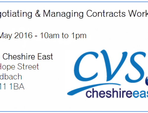 Negotiating & Managing Contracts Workshop – 26 May 2016 – CVS Cheshire East